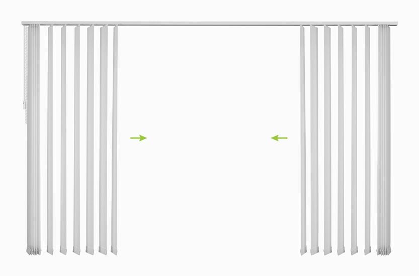 Lamelne zavese - odpiranje z leve in desne